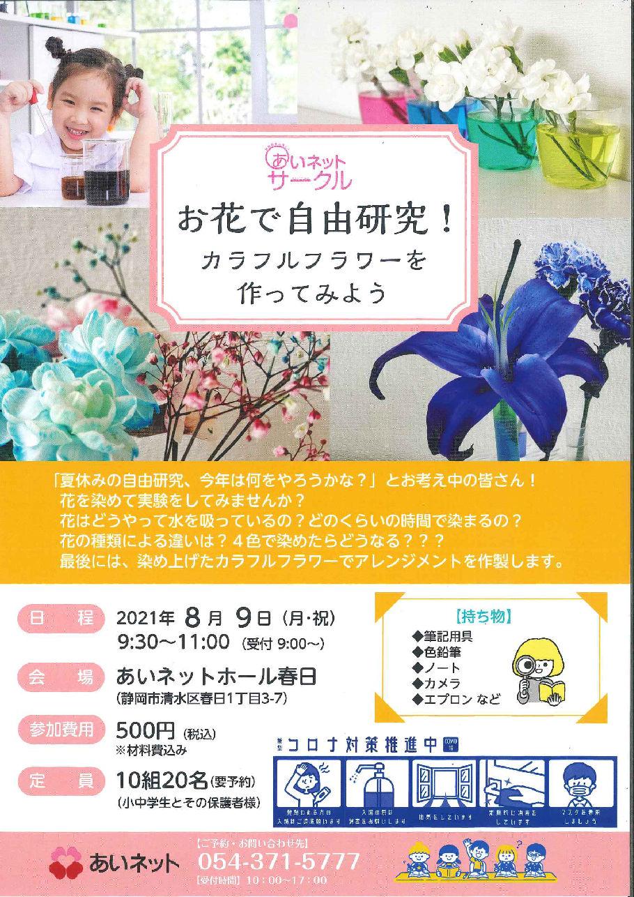 【8/9開催】☆あいネットサークル☆お花で自由研究!カラフルフラワーを作ってみよう